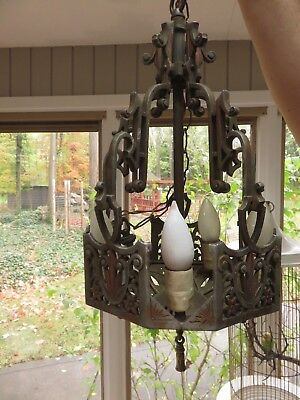 Antique Slip Shade Polychrome  Art Deco Hanging Ceiling Light Fixture Chandelier