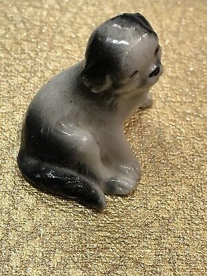 Vintage Shih Tzu Porcelain Ceramic Figure Miniature Black Grey White Sit Down