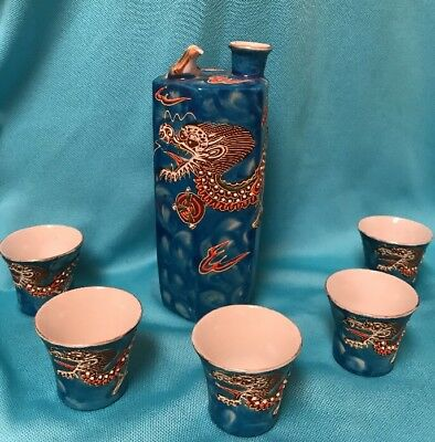 Dragon Whistling Bird Porcelain Saki Set Blue Lithophane Cups Geisha Girl
