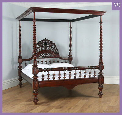 "Antique 6ft"" Victorian Anglo Indian Colonial Raj Super King Four Poster Bed"