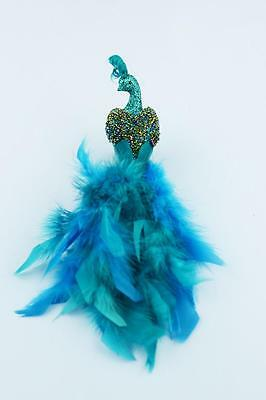 Beaded Teal Turquoise Peacock Feather Tree Christmas Wreath Ornament Topper