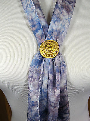 Beautiful Vintage Gold Tone Spiral Textured Scarf Clip 1-3/8""