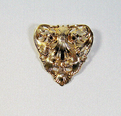 "Beautiful Vintage JERI-LOU Gold Tone Ornate Heart Scarf Clip 1-3/4"" Signed"