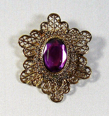 Fancy Vintage Filigree Gold Tone Ornate Scarf Clip Purple Faceted Stone 2""