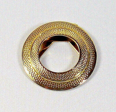 Beautiful Vintage Gold Tone Round Criss Cross Scarf Clip 1-5/8""