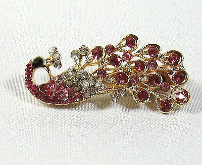Fancy Vintage Gold Tone Pink Rhinestone Peacock Scarf Clip 1-3/4""