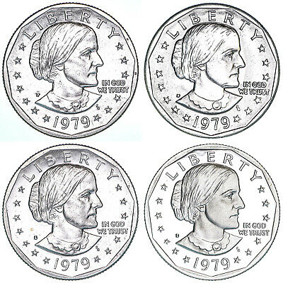 1979 P D S S Susan B Anthony Dollar Year Set Proof & BU US 4 Coin Lot