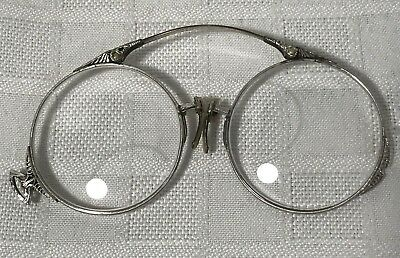 Antique Spectacle White Gold Sterling Silver Glass Vintage