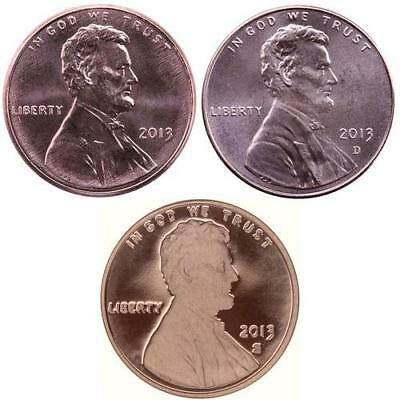 2013 P D S Lincoln Shield Cent Year Set Proof & BU US 3 Coin Lot
