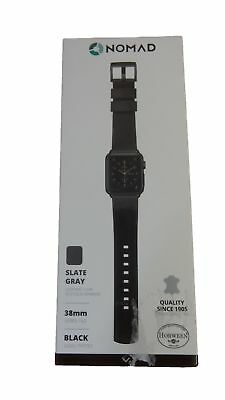 Nomad Genuine Leather Slate Gray Watch Band Strap for Apple Watch 38mm Black