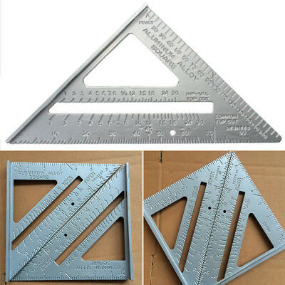 7'' Aluminum Alloy Speed Square Roofing Triangle Angle Protractor Ruler