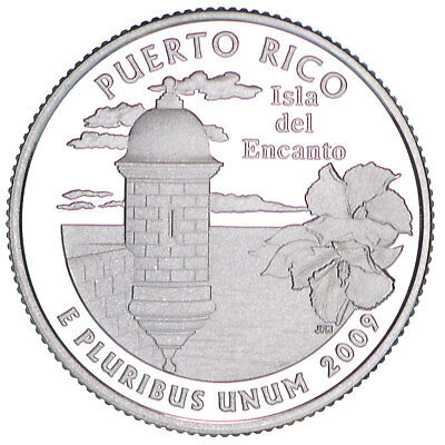 2009 S Territories Quarter Puerto Rico Gem Proof Deep Cameo 90% Silver US Coin