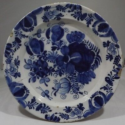 Antique English Blue & White Salt-Glazed Earthenware Pottery Charger Late Plate