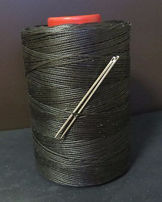 RITZA TIGRE WAXED HAND SEWING THREAD 1.0m FOR LEATHER/CANVAS & 2 NEEDLES BLACK