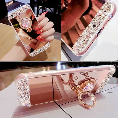 Luxury Bling Diamond Crystal Ring Holder Stand Kickstand Mirror Phone Case New