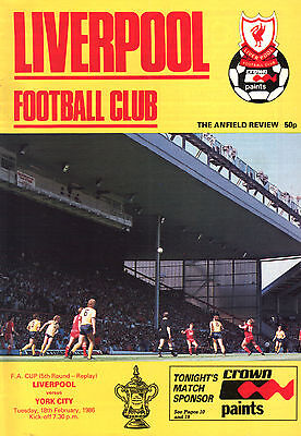 1985/86 Liverpool v York City, FA Cup, PERFECT CONDITION