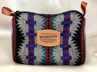 Pendleton Cosmetic Toiletry Travel Bag Virgin Wool Made in USA  (A01)