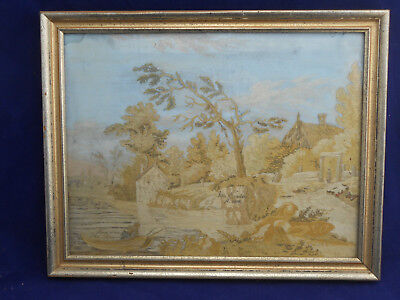 """Antique 1808 EMBROIDERED Picture Woman Boat Fishing Hand Painted SILK 14"""" x 10"""""""
