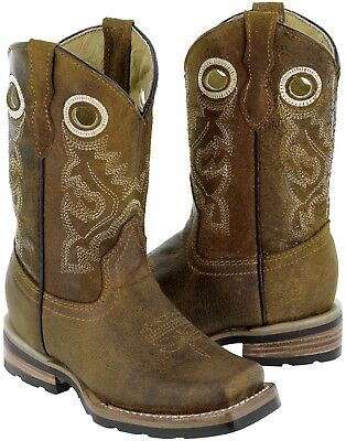 Kids Honey Brown Cowboy Boots Western Rodeo Ranch Style Square Toe Pull On Holes