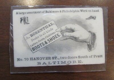 VIctorian Advertising CArd Rosenthal Boots Shoes BAltimore MD In Hard Plastic