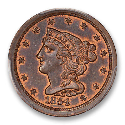 1854 Half Cent PCGS MS 64+ 1/2C Braided Hair BN Uncirculated Brown CAC
