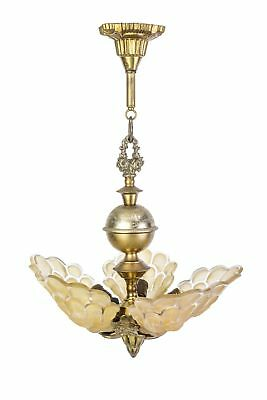 Exquisite Art Deco Chandelier With Peacock Shaped Glass Shades By Martele