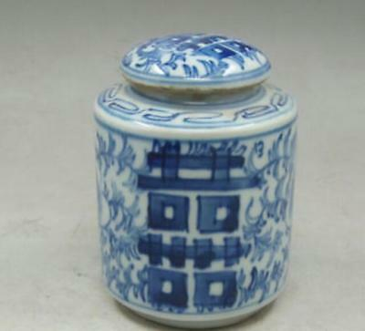 Chinese old Handmade painting flowers blue and white porcelain Tea caddy pot 4