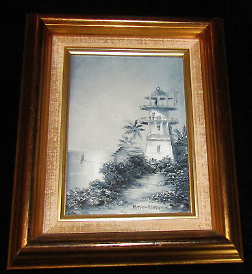 Hawaii ORIG PAINTING SIGNED Diamond Head Lighthouse in Moonlight T Brinson 1991