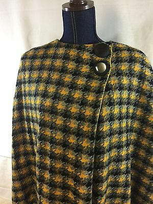 Vintage 60's MOD Houndstooth Textured Heavy Wool Cape Jacket Yellow Black OS