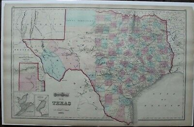 Original 1873 Map of Texas by Gray