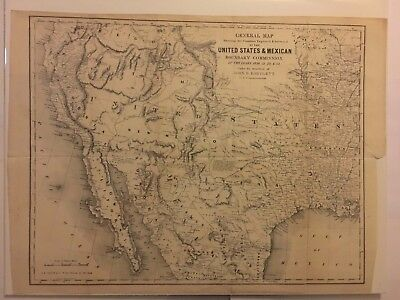 Original 1854 Map of Western US by Bartlett after acquisition of California