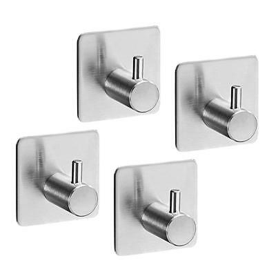 4Pcs Stainless Steel Self Adhesive Sticky Hook Towel Coat Hanger Wall Mount