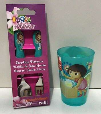 Dora The Explorer Kids Flatware Spoon & Fork Cutlery Set & Drinking Cup