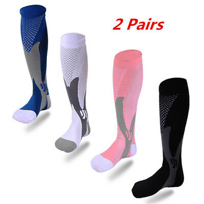 2 Pairs Copper Compression Socks Support 30-40 mmhg Stretch Running US POST