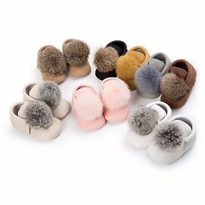 Baby Girls Shoes Infant Toddler Newborn Hair Ball Moccasins Soft Moccs Boots
