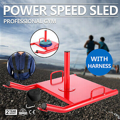 Power Speed Fitness Sled w//Harness Weighted Drag Sport Crossfit Running Football