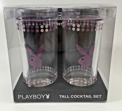 Playboy Purple Dots Tall Cocktail Drinking Glass Set ( 2 Glasses )
