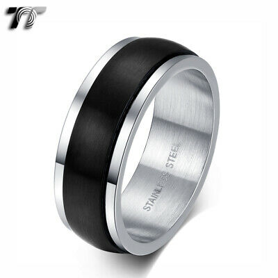 TT 8mm Silver/Black Brushed S.Steel Spinner Band Ring Size Size 8-15 (R389) NEW