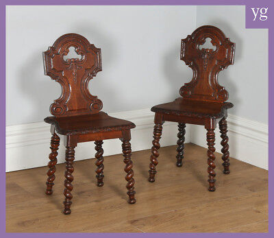 Antique English Victorian Pair Two 2 Gothic Style Carved Oak Hall / Side Chairs