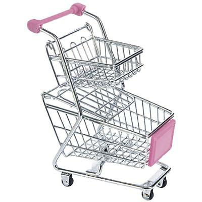 Double-layer Mini Shopping Cart Holder Storage Basket Trolley Kids Toy Pink