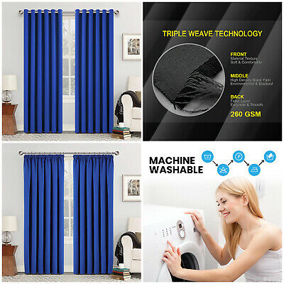 THERMAL BLACKOUT CURTAINS Eyelet Ring Top & Pencil Pleat FREE Tieback Royal Blue