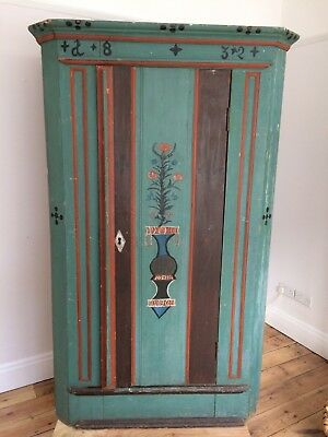 Folk Art Hand Painted Solid German Wardrobe 1832