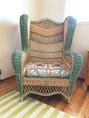 Unique, Large, Vintage, Antique Wicker Chair with Green Accents