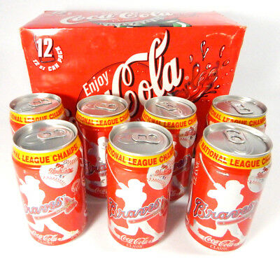 12-Pack of 1991 National League Champs Braves Coca-Cola Empty Soda Cans