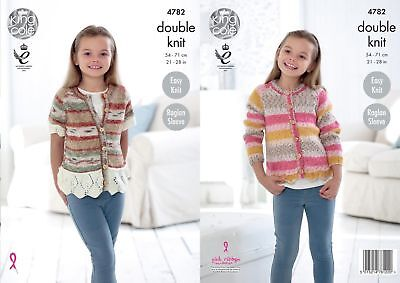 King Cole DK Knitting Pattern 4782:Easy Knit Girls Cardigans,