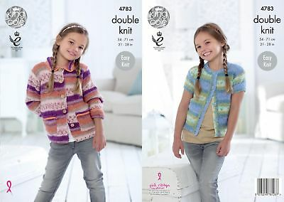 King Cole DK Knitting Pattern 4783:Easy Knit Girls Cardigans,