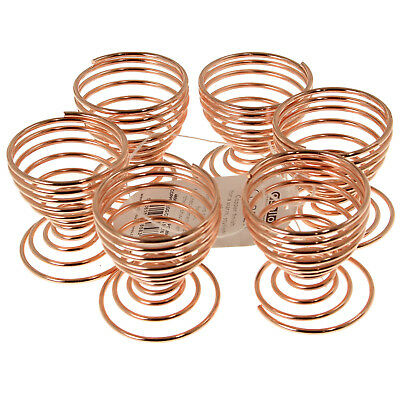 Set Of 6 Copper Spring Wire Hard Boiled Egg Cups Holder Breakfast Lunch Kitchen
