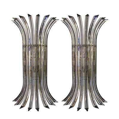 Exceptional Pair Of Italian Clear Murano Glass Wall Sconces
