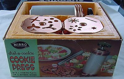 vintage Mirro Cookie Press Dial Cookie Recipes 3 PLATES Designs #56 Cooky BOX