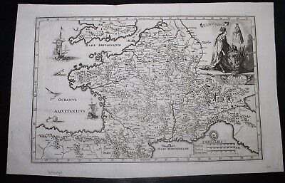 Original Map of France from 1749 by Schreiber with Religious Theme
